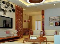 110㎡灯饰茶几背景墙客厅沙发茶几原木色的中式装修效果图
