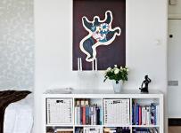 單身公寓客廳背景墻北歐個性十足的書柜背景墻裝修效果圖