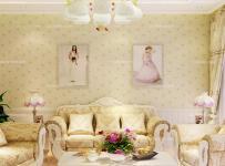 """白色韓式大戶型120㎡韓菲爾""""裝出來的溫馨客廳效果圖欣賞"""