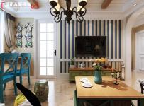 壁紙墻面裝飾家具茶幾電視柜地中海風格客廳電視背景墻裝修效果圖