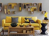 茶几客厅空间里的黄色布艺沙发效果图欣赏