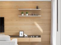 客廳電視墻壁原木護墻板效果圖