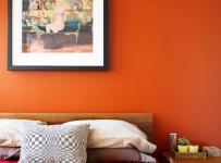 卧室客厅背景墙橙色的卧房背景墙空间效果图大全