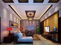 台灯地柜新中式家具地毯吊顶吊灯地毯客厅吊顶三居客厅长形吊顶装修效果图