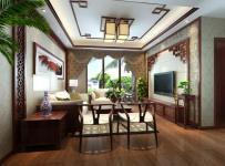 沙發背景墻吊頂中式風格三室一廳客廳電視背景墻裝修效果圖中式風格電視柜圖片
