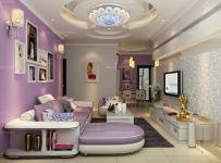 紫色吊顶隔断80㎡吊顶茶几沙发二居单身公寓银、紫色打造全新现代风格客厅家装效果图欣赏