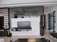 现代简约跃层客厅背景墙装修效果图
