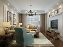 台灯装?#20301;?#23458;厅沙发沙发背景墙客厅吊灯美式电视柜地毯三居小客厅侧面整体装修效果图