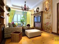 壁燈擱板墻面裝飾沙發電視背景墻吊燈茶幾地中海風格客廳電視背景墻裝修效果圖