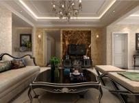 电视背景墙家具沙发新古典电视背景墙镶银边客厅茶几图片效果图欣赏