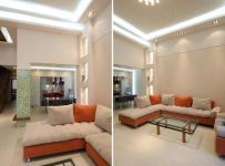 现代吊顶客厅沙发区装修效果图