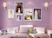 照片墙地毯80㎡茶几沙发二居单身公寓紫色治愈系打造现代梦幻客厅效果图