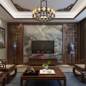 中式古典四居室客厅窗帘装修图片效果图