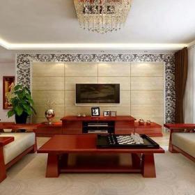 电视背景墙雕花隔断茶几电视柜新中式风格三居室客厅装修效果图新中式沙发图片