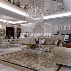 水晶燈客廳沙發客廳客廳家具大戶型沙發茶幾簡歐風格客廳裝修效果圖
