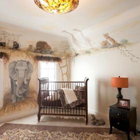 灯饰美式大户型儿童房客厅背景墙自然的动物绘画装饰背景墙装修效果图