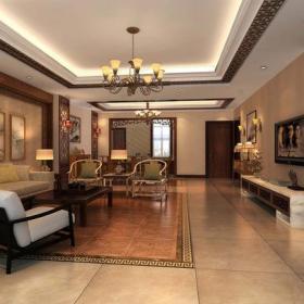 吊顶新中式风格大户型客厅电视背景墙装修效果图,新中式沙发图片