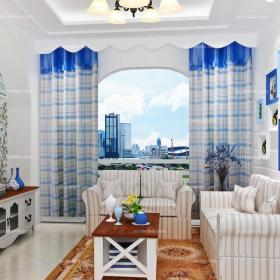 蓝色窗帘地毯窗帘70㎡小户型客厅地中海风格清新条纹沙发设计装修效果图