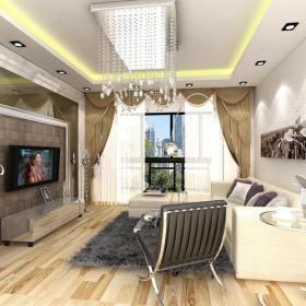 水晶吸顶灯床电视柜窗帘茶几现代风格客厅窗帘装修效果图-现代风格沙发图片