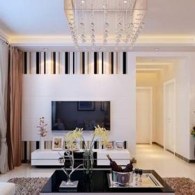 現代簡約三居室客廳走廊,飄窗,窗簾,沙發,壁紙裝修效果圖大全