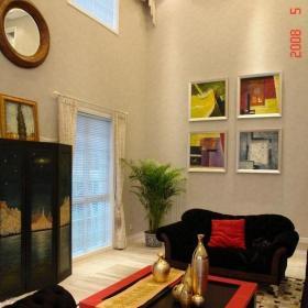 简约别墅挑高客厅沙发茶几图片效果图