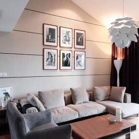 90㎡燈飾沙發茶幾閣樓空間讓現代客廳悠然自得效果圖欣賞