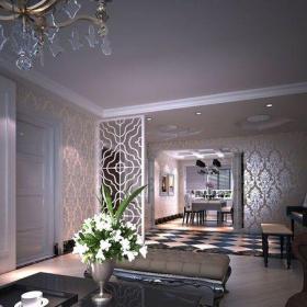 91-120平米黑色新古典风格120平别墅客厅茶几设计图效果图