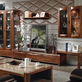 乡村风格客厅装修图片乡村风格电视组合柜图片效果图欣赏