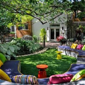 美式別墅入戶花園花園客廳裝修效果圖