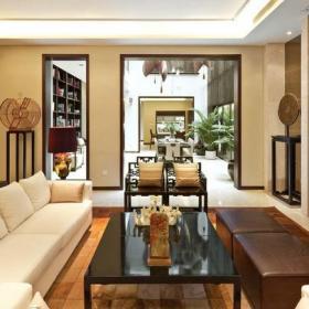新中式风格大户型客厅装修效果图新中式风格实木茶几图片
