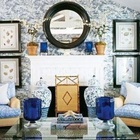 古典中式风格青花瓷装饰客厅效果图