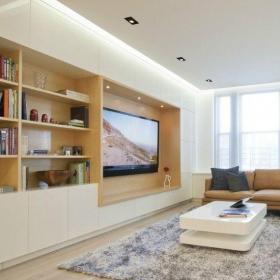 个性砖块设计客厅电视墙效果图
