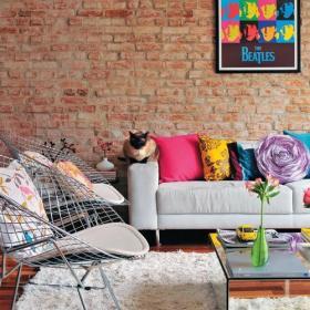 馬賽克背景墻地毯背景墻110㎡鄉村三居客廳背景墻讓磚石背景墻當一次客廳的主角效果圖欣賞