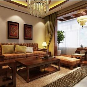中式古典风格客厅背景墙装修效果图中式古典茶几图片