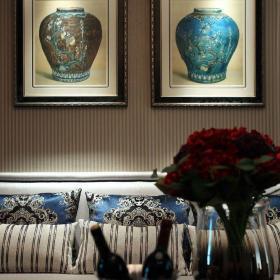 中式风格二居室客厅窗帘装修效果图欣赏