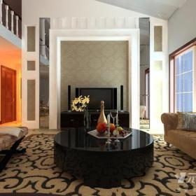 電視背景墻歐式風格大戶型客廳電視墻裝修效果圖歐式風格客廳地毯圖片