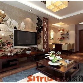 電視背景墻中式客廳鏤空木屏裝飾效果圖