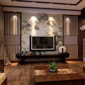 中式风格客厅电视背景墙装修效果图中式风格窗帘图片
