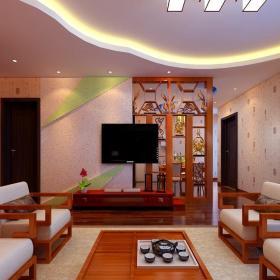 中式客廳博古架隔斷裝修效果圖片