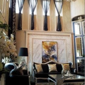 欧式别墅挑高客厅沙发背景墙效果图