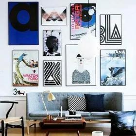 背景墙时尚客厅装饰画布置效果图