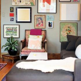 背景墙混搭小户型混搭客厅背景墙装饰画效果图大全
