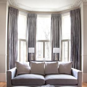 客廳灰窗簾效果圖片