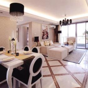 歐式客廳四居簡歐風格客餐廳裝修欣賞裝修效果圖