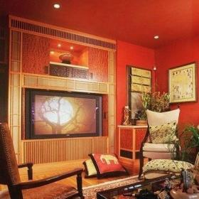 三组壁画新中式客厅装修效果图