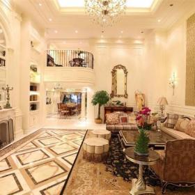 欧式风格挑高客厅装修效果图欧式风格圆凳图片