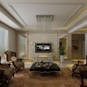 四室兩廳客廳裝修設計樣板房效果圖