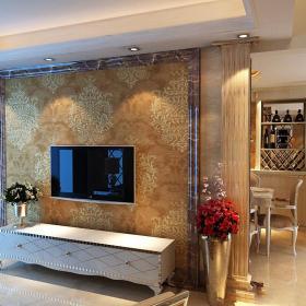 简欧风格客厅石材背景墙装修效果图