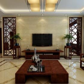 中式风格三居客厅电视背景墙装修效果图中式风格吊顶图片