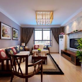 新中式风格客厅电视背景墙装修效果图新中式风格单人沙发椅图片